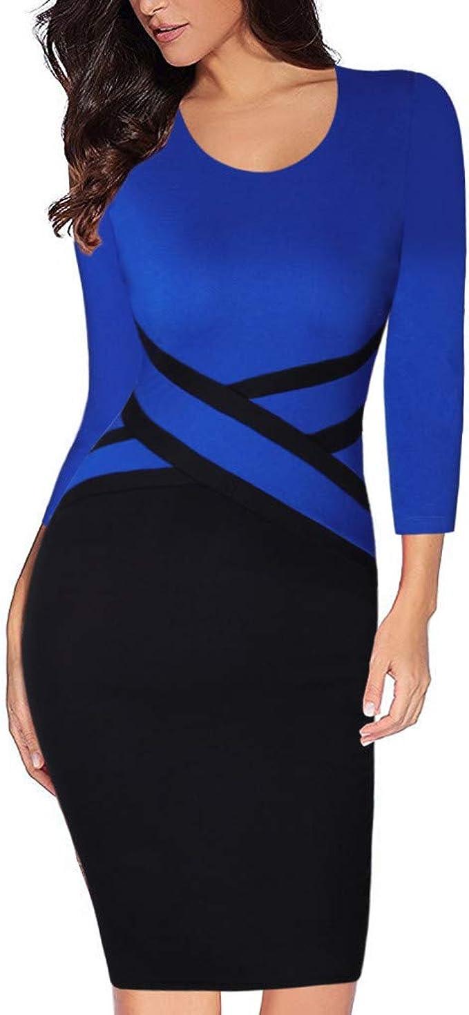 Lazzboy Business Kleid Damen Weinlese Kontrast Farbpatchwork