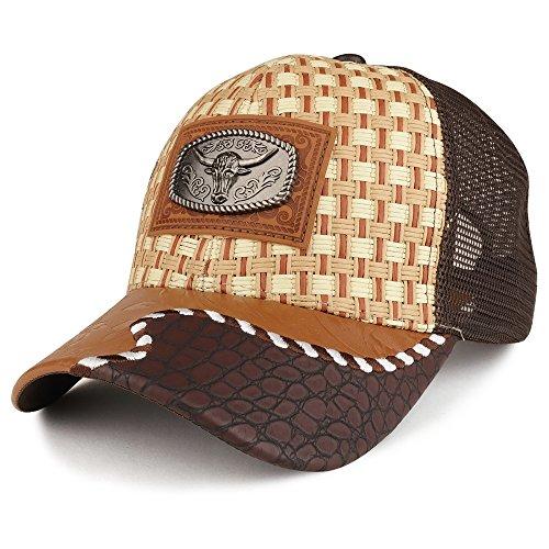 Trendy Apparel Shop Straw Design Metallic Texas Ox Bull Logo Badge Trucker Mesh Baseball Cap
