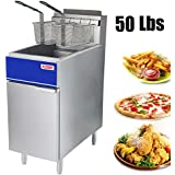 Premium Commercial Deep Fryer - KITMA 50 lb. Natural Gas 4 Tube Floor Fryer with 2 Fryer Baskets - Restaurant Kitchen Equipment for French Fries, 136,000 BTU/h