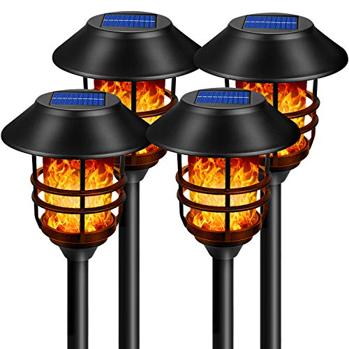 Sucisia Solar Torch Light 4 Pack with Flickering Flame 72LED for Outdoor, Walkway, Patio, Backyard. Warm Yellow Bulb Never Needs Replacing, Frosted Glass Lens, Durable Stainless Steel, Aluminum