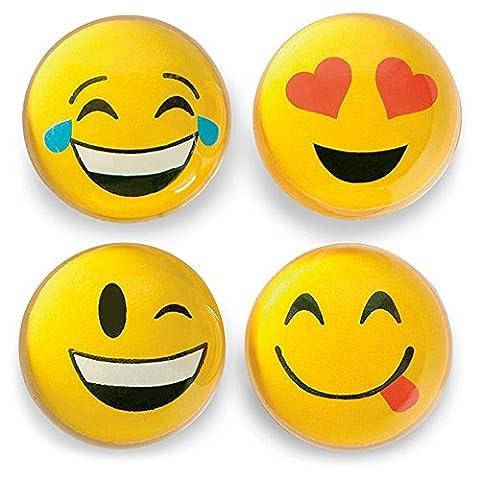 12 Emoji Bounce Balls - Party Favors, Goody Bags, Prizes, Treasure Box, Stocking Stuffers, Easter - Treasure Ball