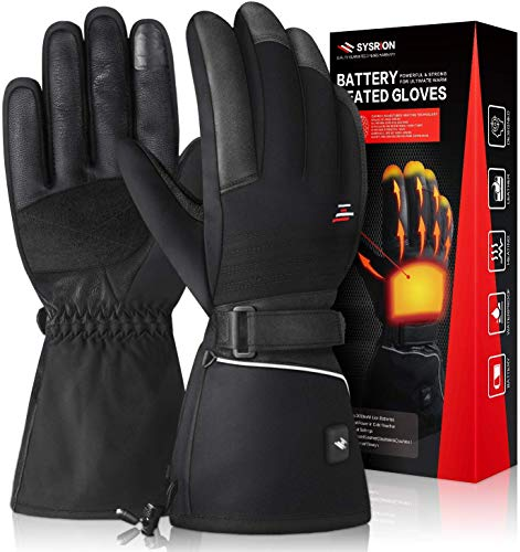 Sysrion Rechargeable Battery Heated Gloves - Waterproof & Windproof Electric Gloves for Men Women, 4 Heating Setting for Ski Camping Riding Motorcycle Hiking Fishing