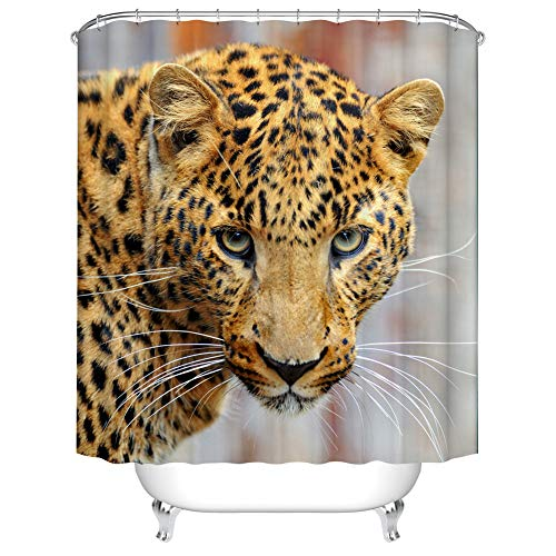 - Fangkun Animal Theme Decor Shower Curtain Set - Leopard 3D Print Art Bath Curtains - Polyester Fabric Waterproof Curtains - 12pcs Shower Hooks (YL209#, 72 x 72 inches)