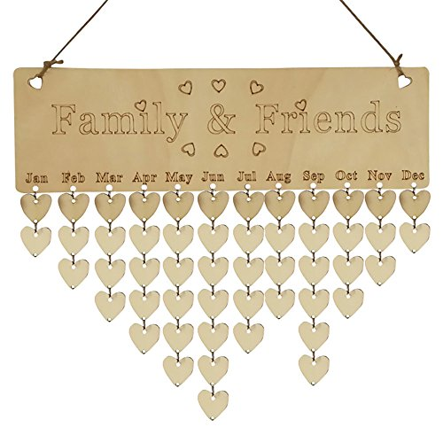(Xmas Decorations Clearance Sale, Libermall Wood Birthday Reminder Board Birch Ply Plaque Sign Family &Friends DIY Calendar, Perfect for Home Decor Creative Ornaments)
