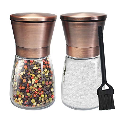 Copper Salt and Pepper Grinder Set of 2 Stainless Steel Salt and Pepper Shakers with Adjustable Ceramic Coarseness Salt Grinders and Pepper Mill Shaker Spice Grinder Mill Set with Free Cleaning Brush