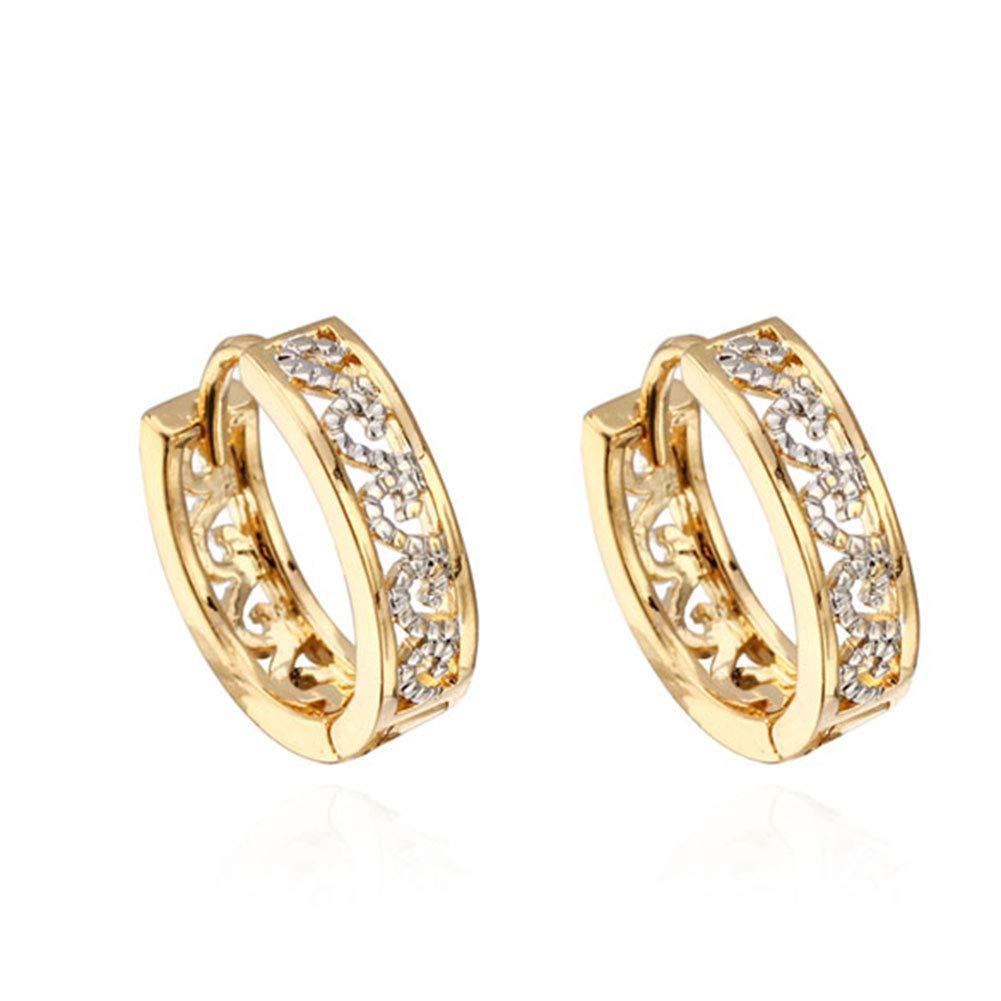HighPlus 18K Gold Plated Earrings Hollow Inlay Little Zircon Hoop Earrings 74591