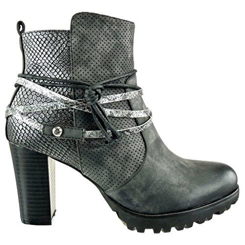 Angkorly - Chaussure Mode Bottine cavalier effet vieilli plateforme femme peau de serpent perforée lanière Talon haut bloc 8 CM - Noir