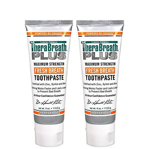 Natural Anticavity Toothpaste Kosher Fluoride - TheraBreath Plus Maximum-Strength Toothpaste, 4 Ounce Tube (Pack of 2)