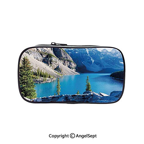 Two Big Pockets for Executive Fountain Pen,Moraine Lake Banff National Park Canada Mountains Pines Valley of The Ten Peaks Blue Green Grey 5.1inches,Multi-Functional 72 Slots Colored Pencil Case -