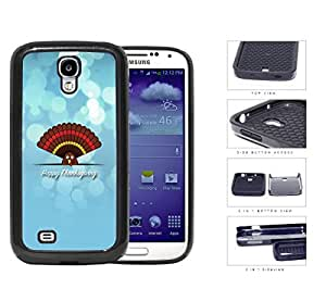 Happy Thanksgiving Cute Turkey On Blue Background Samsung Galaxy S4 i9500 (2-piece) Dual Layer High Impact Cell Phone Case