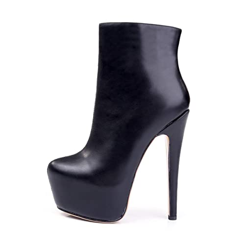 92d757241e75 Chris-T Womens Handcrafted Rounded Toe Side Zipper Slim Fashion Ankle Boots  Black Size 5