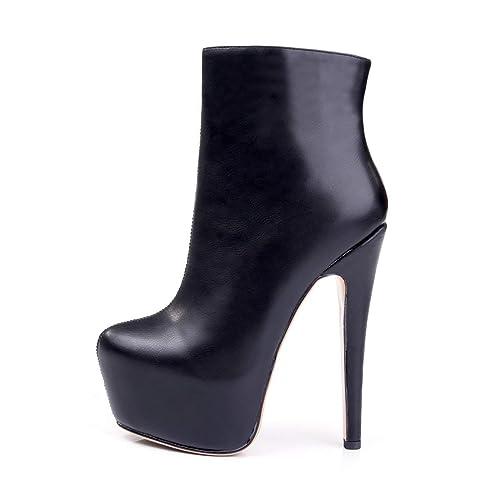 Caitlin Pan - Botines de tacón para Mujer - Plataforma Cerrada - Botines de Moda: Amazon.es: Zapatos y complementos