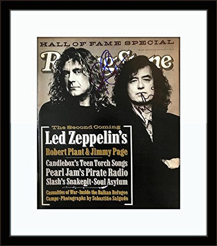 Framed Robert Plant Jimmy Page Led Zeppelin Authentic Autograph with Certificate of Authenticity -