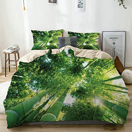 YOLIKA Duvet Cover Set Low Angle View of Bamboo Tree Tops Asian Zen Tranquil Lands Jungle Meditation Spa Theme Beige Decorative 3 Piece Bedding Set with 2 Pillow Shams King Size (Asian Theme Comforter)