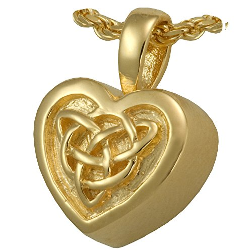 Cremation Memorial Jewelry: 14K Solid Yellow Gold Celtic Heart + Text Engraving 14k Yg Box