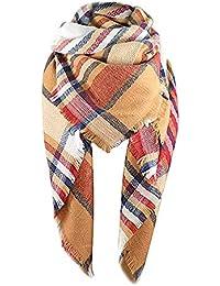Stylish Warm Blanket Scarf Winter Classic Tassel Plaid Wrap Shawl Scarves for Women