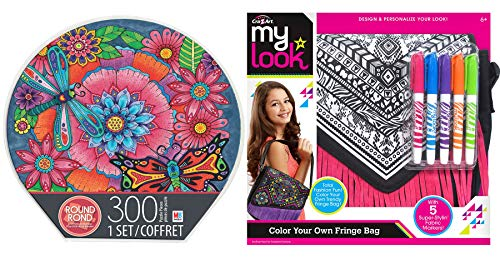 Trendy Girl Fashion Fun Floral Puzzle Bundle Create Your own Fringe Messenger Bag Art Color gems, and a Purse 2 Items
