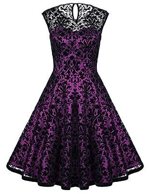 Belle Poque Women's Sleeveless Floral Lace Vintage Party Swing Dresses