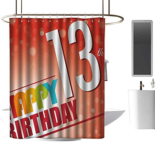 Shower Curtain with Hooks 13th Birthday Retro Style Teenage Party Invitation Graphic Design with Bokeh Effect Rays Shower Curtain Cool W48 x L84