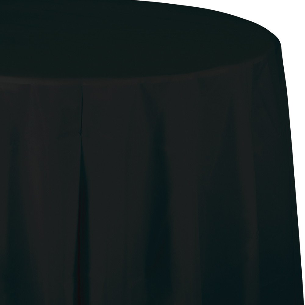 Creative Converting Tissue Poly Table Covers Octy Round Paper Tablecloth, 3 Ply 82 Inch x 82 Inch For 60 Inch Round Tables - 3 Pack - Various Colors and Quantities (Black Velvet, 3 - 3 Packs)