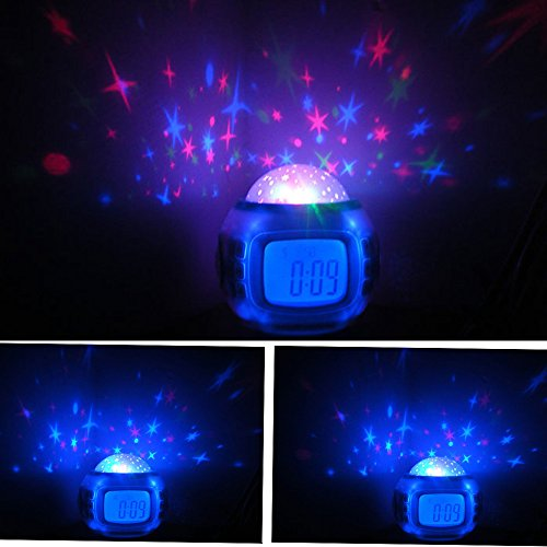 Alarm Clock, YiaMia(TM) Children Room Sky Star Night Light Projector Lamp  Bedroom Alarm Clock With Sleeping Music LCD Desktop Calendar Thermometer  Birthday ...