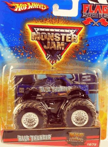 Hot Wheels Monster Jam 2010 BLUE THUNDER Mud Truck - Flag Series #18/75 1:64 Scale