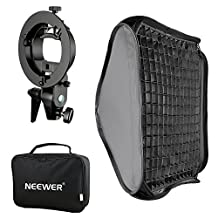 Neewer 32x32 inches Bowens Mount Softbox with Grid and S-type Flash Bracket for Nikon SB-600, SB-800, SB-900, SB-910, Canon 380EX, 430EX II, 550EX, 580EX II, 600EX-RT, Neewer TT560 Flash Speedlite