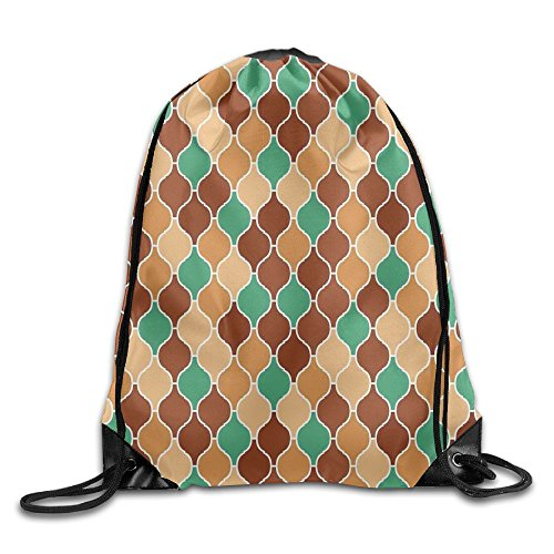 ALBAGLLKK Vintage Style Arabic Ornamental Figures Lattice Eastern Culture Pattern Artwork Drawstring Bags Running Backpack Sport Bag For Men & Women Eastern Lattice