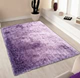 Shaggy Viscose Solid, Lavender Solid Area Rug, Hand Tufted, Approximate Size 2'x3′ Size 2×3(SVS)Lavender Review