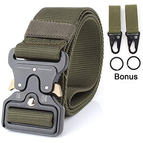 1.7″ Military Tactical Belts,Heavy Duty Gun & Work Belt, Quick-Release Webbing Nylon Belts with Metal Buckle (Green)