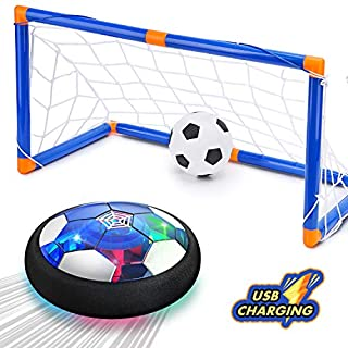 CUKU Kids Toy,Hover Soccer Ball Toys for 3 4 5 6 7 8-16 Years Old Boy Girl , 2 Goals and Inflatable Ball,Indoor Floating Soccer with LED Light and Safe Bumper(No AA Batteries Needed) (Bule)
