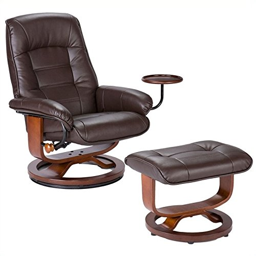 Holly & Martin Bonded Leather Recliner and Ottoman - Coffee Brown