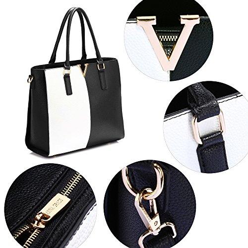 Faux Handbag Black Fashion Look Designer Women Female Large Design New White Bag Leather Ladies Bag 1 Style Shoulder For Tote n4xn8Yq1