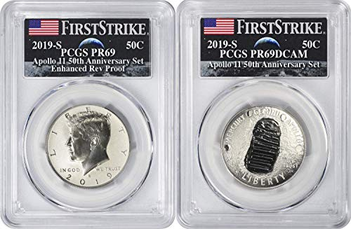 - 2019 S Apollo 11 50th Anniversary Commemorative 2-Coin Proof Half Set (Commemorative & Enhanced Reverse Proof Kennedy), First Strike, Earth Rising Label PR69DCAM PCGS