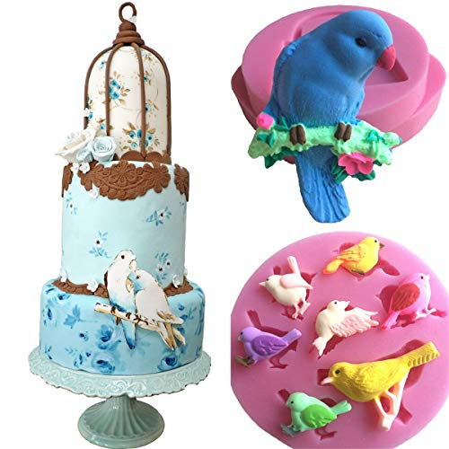 Anyana mini orioles parrot mold bird Silicone Baking Molds forest party animal Fondant molds Cake Decorating Tools Gumpaste cupcake decorations Chocolate Candy Clay Moulds Non stick set of 2 by Anyana