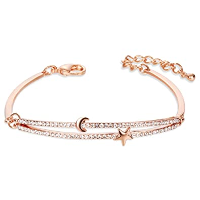 Sweetiee Rose Gold Plated Brass Bangle Bracelet Micro Pave Zirconia Arch with Moon and Star for Girls Jewelery Gift iceLYA