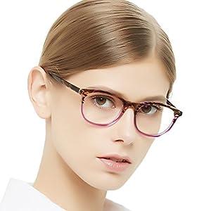 OCCI CHIARI Rectangle Stylish Eyewear Frame Non-prescription Eyeglasses With Clear Lenses Gifts for Women(Peach,49mm)
