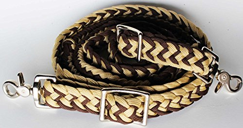 - PRORIDER Roping Knotted Horse Tack Western Barrel Reins Nylon Braided Tan Brown 60711