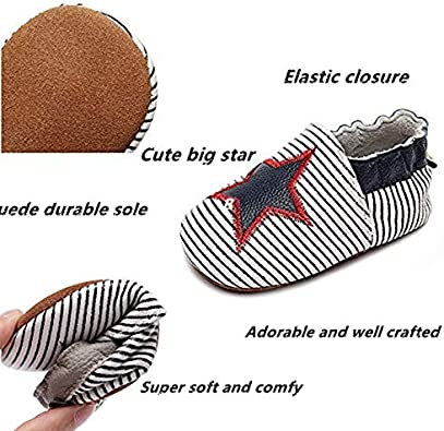 Bebila Baby Boys Girls Slippers Baby Moccasins with Star for Crib First-Walker Anti-Slip Soft Soled Flats Shoes