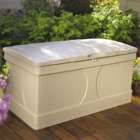 [99 Gallon Stay-Dry Resin, Locking Lid Deck Box, White] (Deck Box Lid)