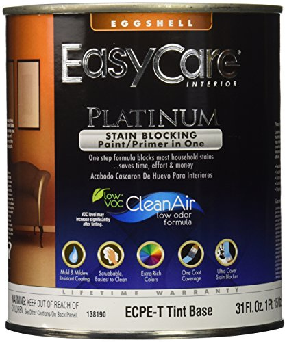 True Value ECPET-QT Tint Base Interior Eggshell Finish Paint with Stain Blocker EasyCare Platinum Paint and Primer in One, 1-Quart