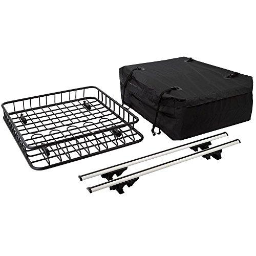 Rage Powersports 3pc Roof Rack Cargo Kit with Roof Basket, Load Bars & Storage Bag (Bundle)