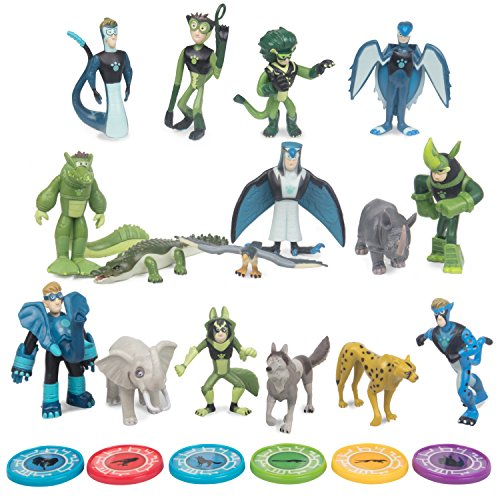 Wild Kratts Toys 22 Piece Collector Action Figure Set - Figures and Discs (Wolf Sea 22)