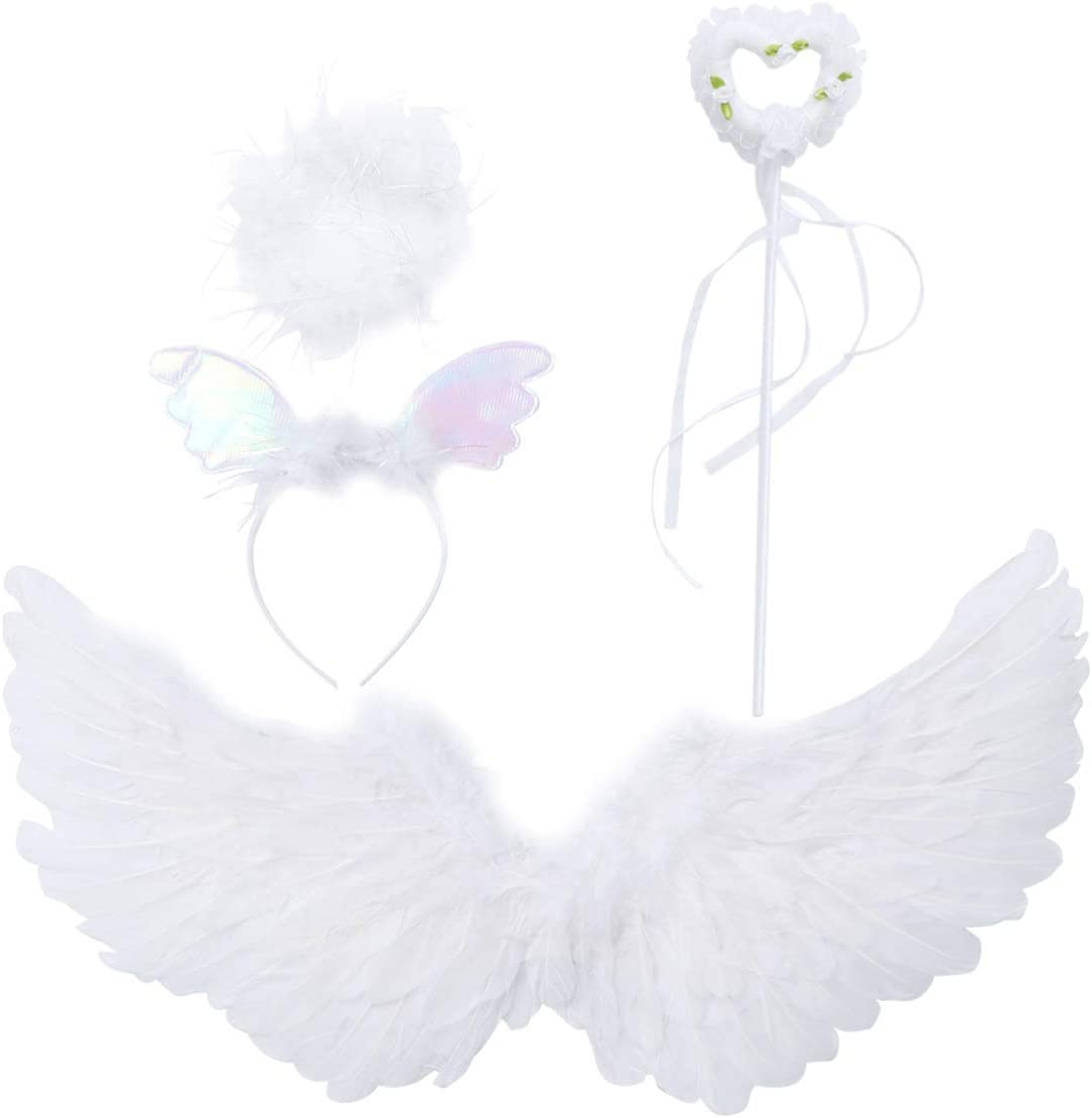 Amosfun 3pcs Angel Feather Wings and Halo Headband Set Girls Angel Feather Wings Hair Hoop Fancy Dress-up Costumes for for Halloween Angel Cosplay Party