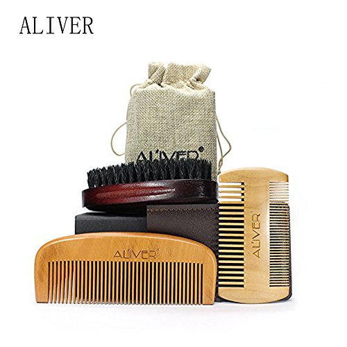 Beard Brush & combo comb Set for Men Care Handmade Wooden Comb and Boar Bristle Beard Brush Kit, with Friendly Gift Box and Cotton Bag, Best Partner for Grooming Facial Hair Great Gift to father