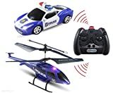 Haktoys ATS HAK329/S339 Mini 3.5 Channel Enforcement Team Police RC Helicopter and RC Car Set with Gyroscope and Flashing LED Lights | Ready to Fly and Drive | RC Hobby Toy for Kids