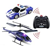 Haktoys HAK329 Mini 3.5 Channel Enforcement Team Police RC Helicopter and RC Car Set | with Gyroscope and LED Flashing Lights | Ready to Fly and Drive | RC Hobby Toy for Kids, Teens and Adults