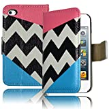 Bastex Leather Wallet for Apple Touch 4, 4th Generation iPod - Hot Pink and Sky Blue Chevron Clutch