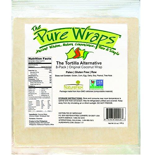 The Pure Wraps Paleo Coconut Wraps, Original Flavor, 8 Count (1 Pack)