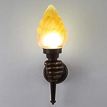Mkjbd Linterna de Pared Lámpara de Jardín Lámpara de Pared Lámpara de Pared Lámparas Retro Cafe Restaurante Bar Lámparas de Pasillo Lámparas de Exterior Antorcha Creativa Lámparas de Pared Luz de Mod: